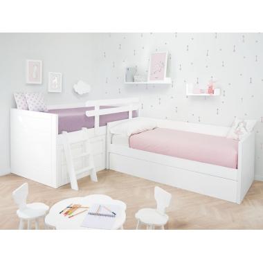 Cama infantil en L con cama nido. Lineal