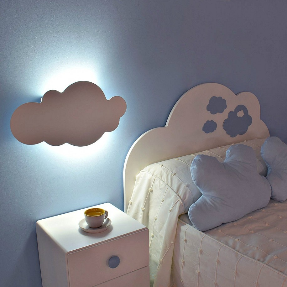 Lampara de pared infantil nubes env o 24h gratis for Lamparas pared infantiles