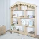 Estantería infantil Casita de madera natural