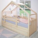 Cama Casita con cajones de madera