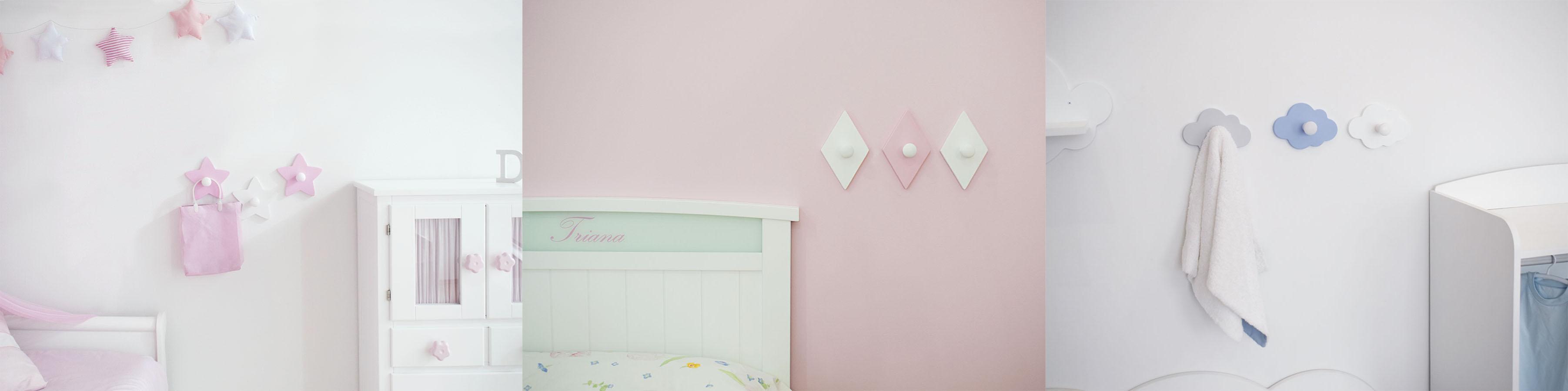 Perchas infantiles de pared Bainba. Modelos Estrella blanca y rosa, Rombo blanco y rosa y Nube azul, gris y blanca.