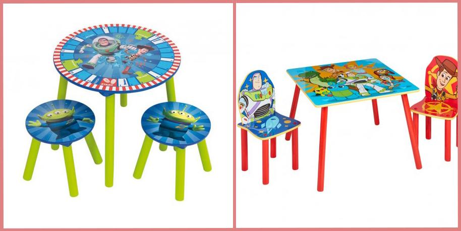 Mesa y dos taburetes Toy Story y Mesa y dos sillas Toy Story. Bainba
