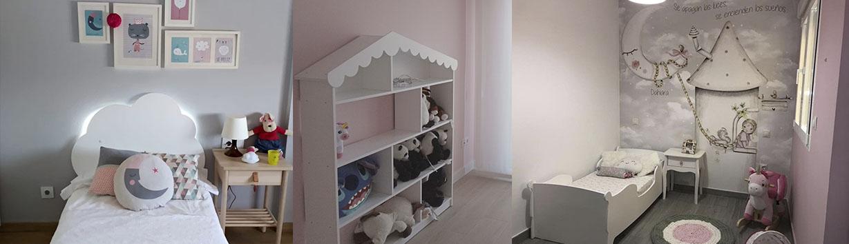 Cabecero infantil Nube. Estantería infantil casita. Cama montessori góndola. Fotos clientes Bainba.