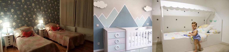 Cabecero infantil casita nórdico. Lámpara de pared nube. Cama casita Montessori. Fotos clientes Bainba.