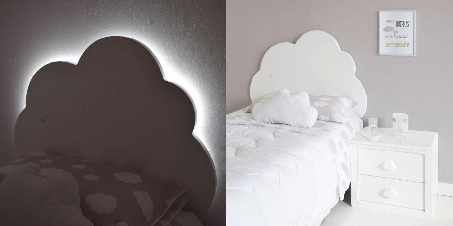 Cabecero infantil Nube con luz. Bainba