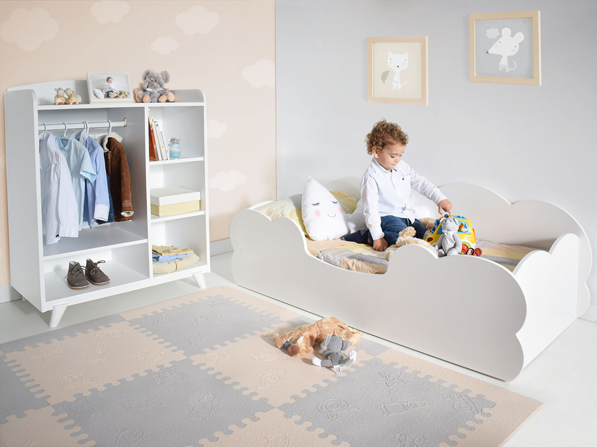 Cama Montessori nube infantil Bainba lacado en blanco