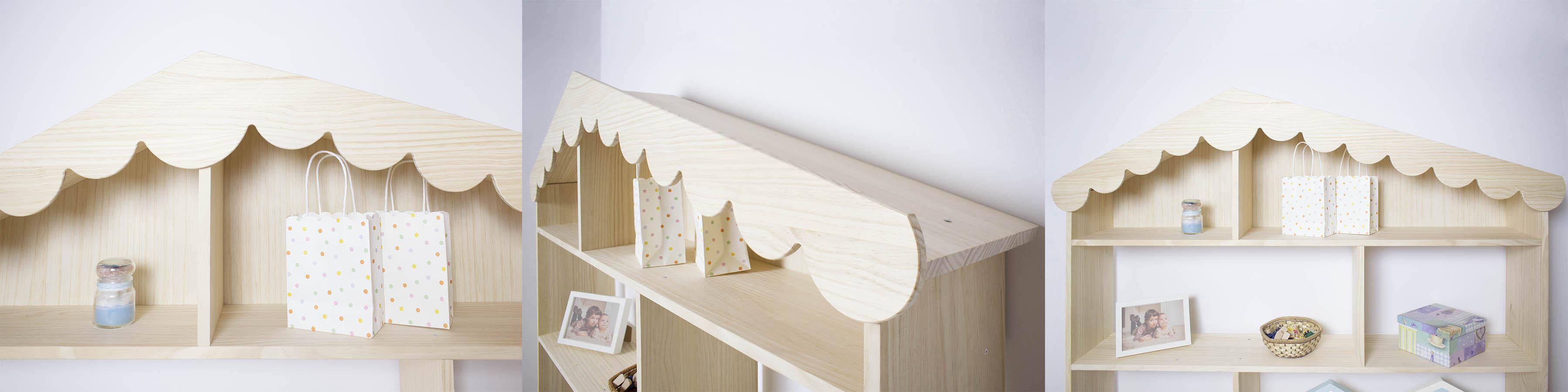 Detalles estantería casita de madera maciza natural.