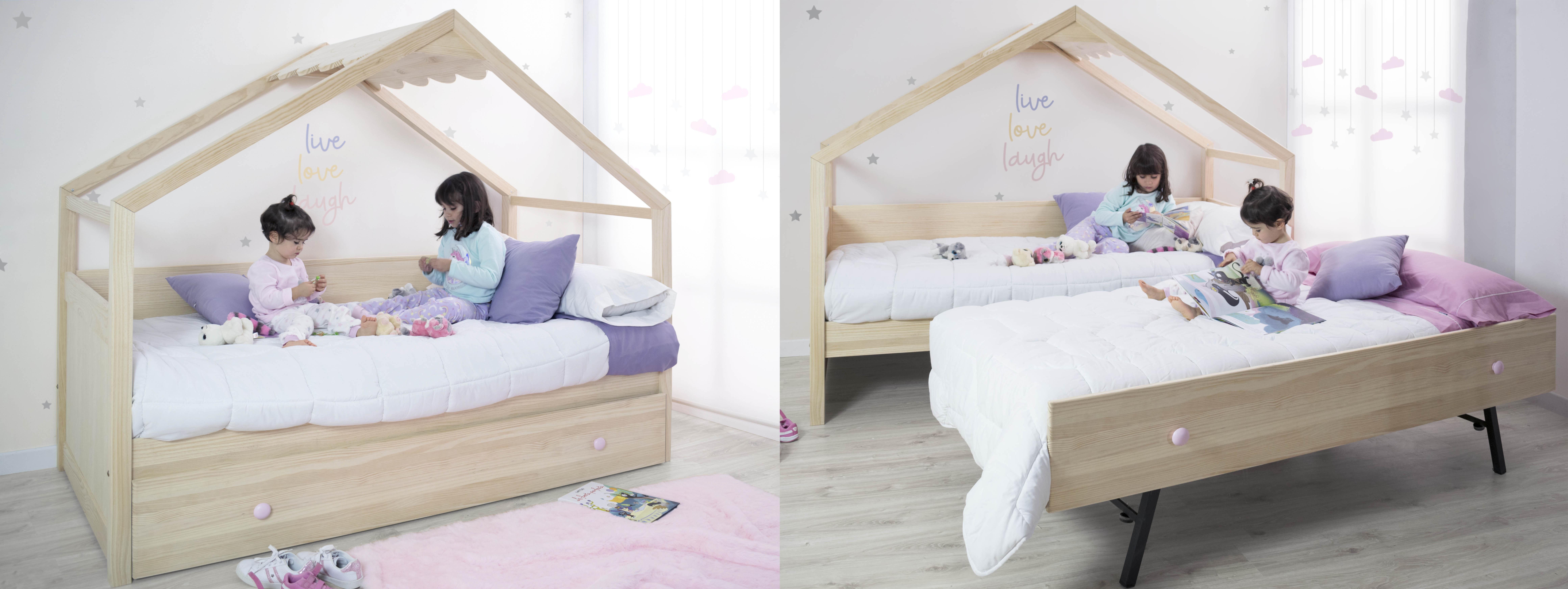 Cama nido casita de madera. Sin barrera quitamiedos. Cama para niños y niñas