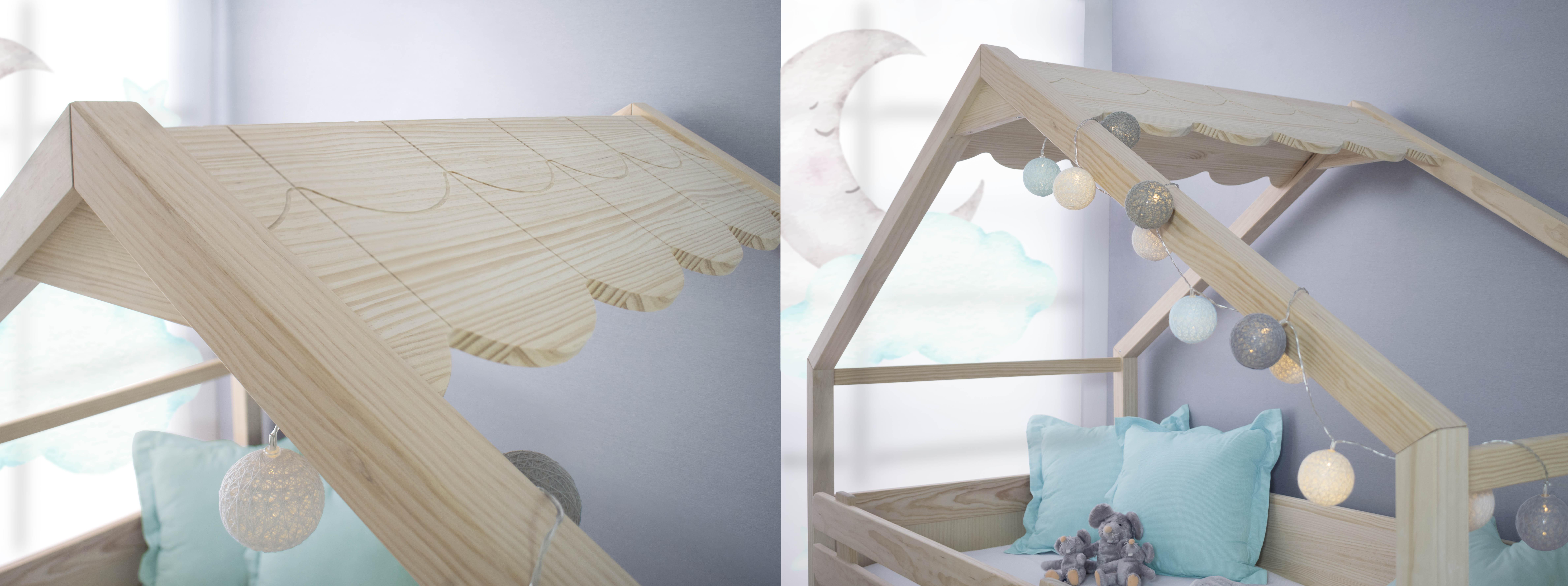 Cama casita de madera Bainba. Detalles
