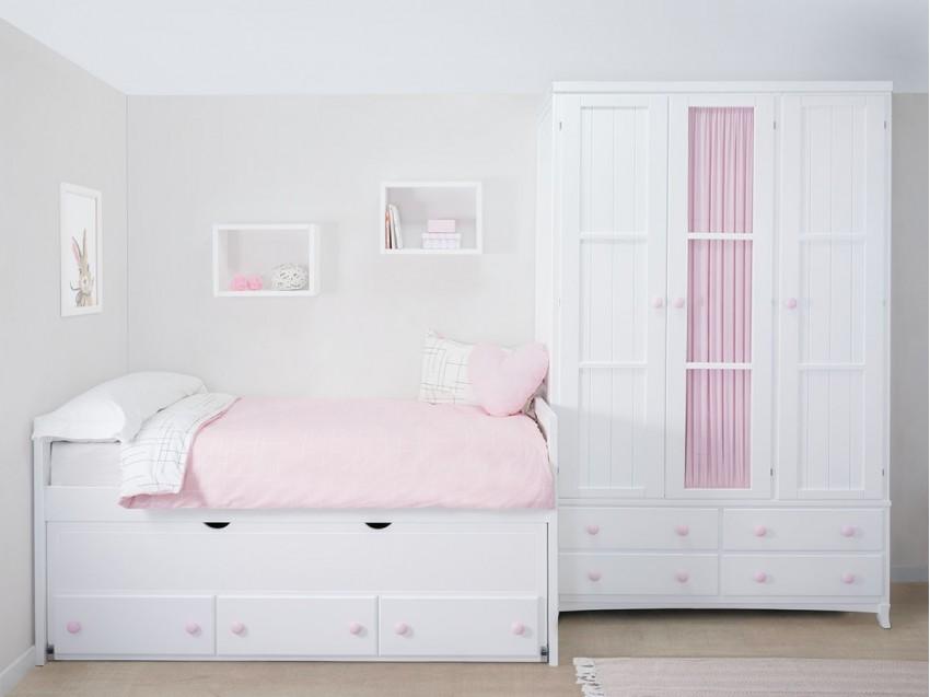 Dormitorio juvenil pequeña para niñas Compacto Lineal