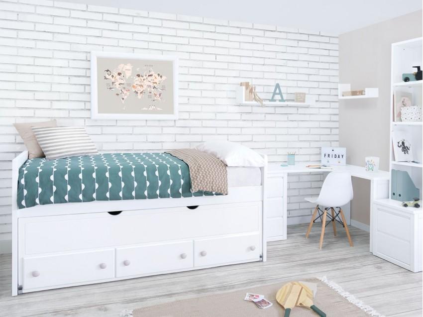 Habitación Juvenil con zona de estudio Compacto Lineal