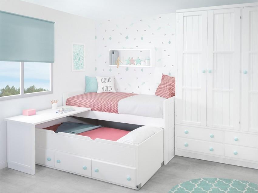 Dormitorios juvenil para poco espacio . Compacto Lineal